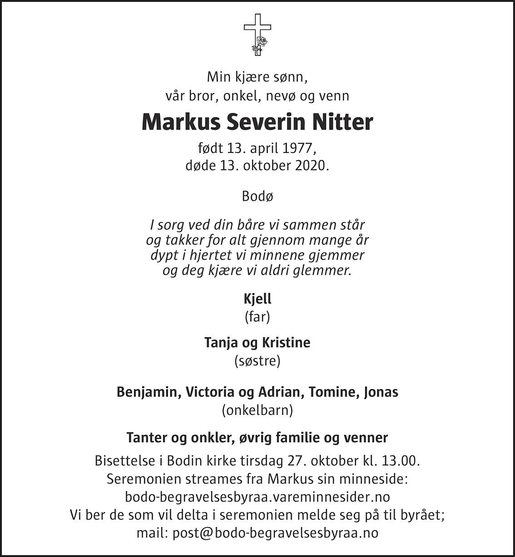 Markus Severin Nitter Dødsannonse