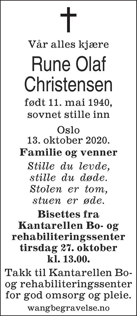 Rune Olaf Christensen Dødsannonse