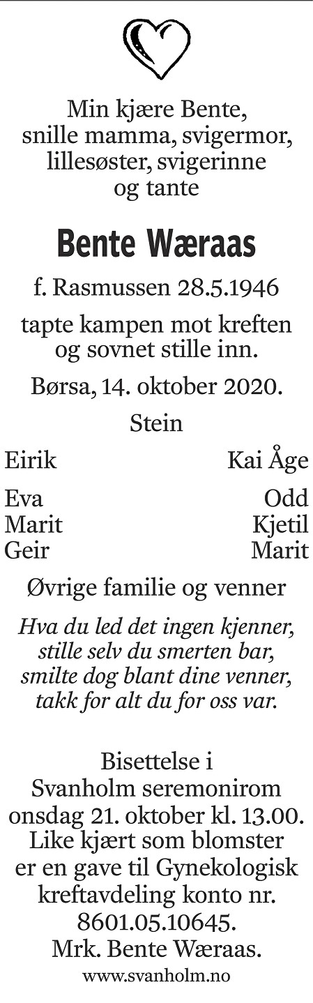 Bente Wæraas Dødsannonse