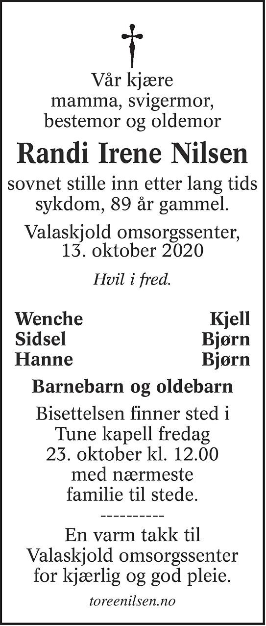 Randi Irene Nilsen Dødsannonse
