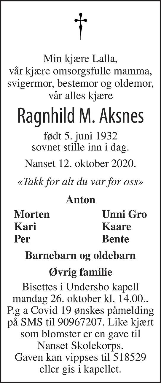 Ragnhild Marie Aksnes Dødsannonse