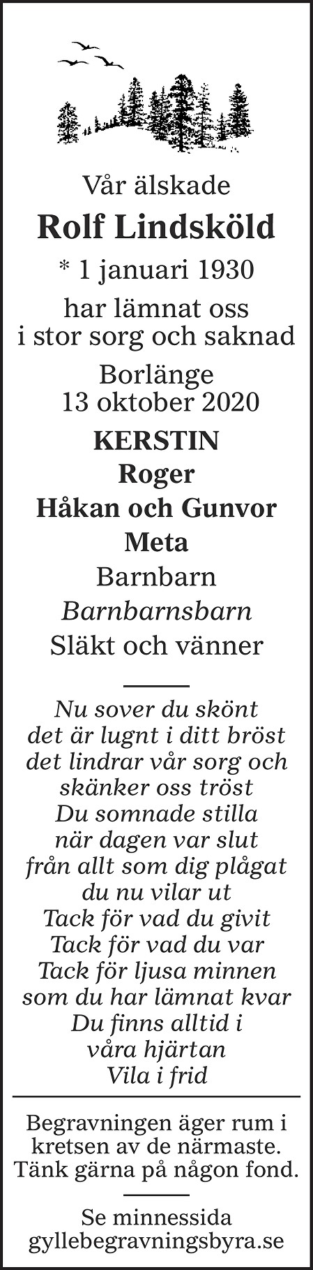 Rolf Lindsköld Death notice