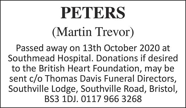 Martin Trevor Peters Death notice