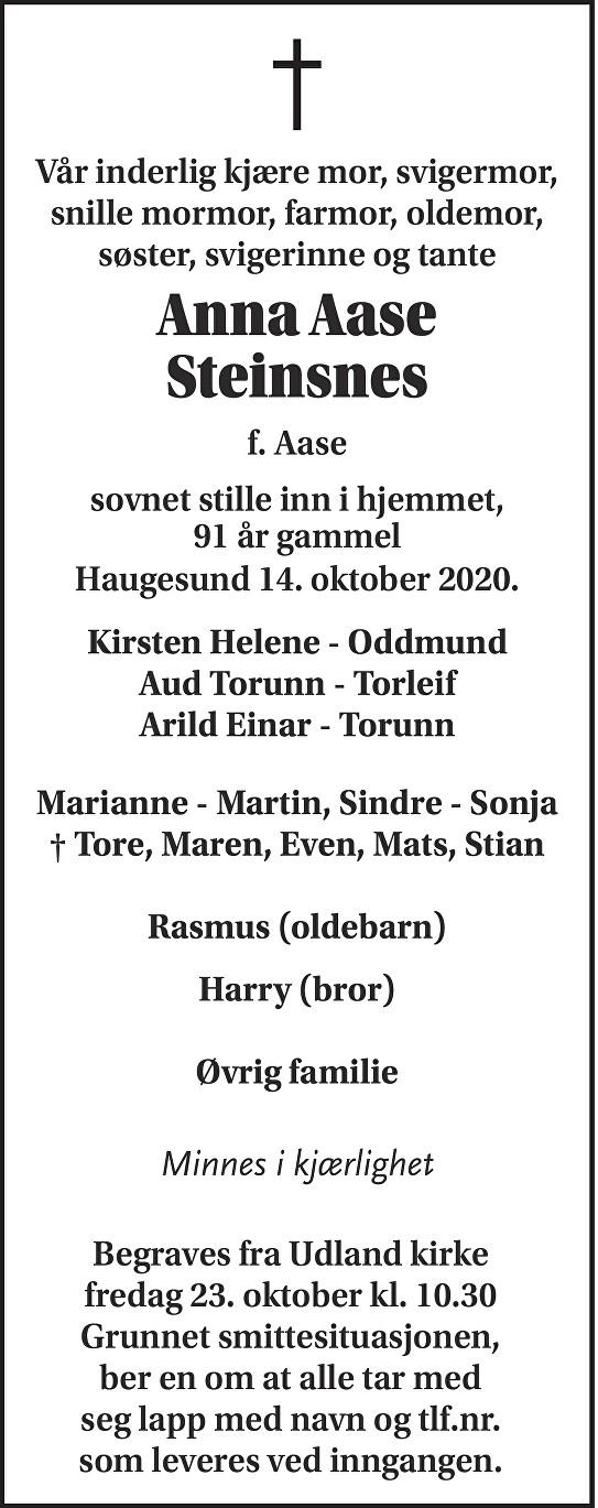 Anna Aase Steinsnes Dødsannonse