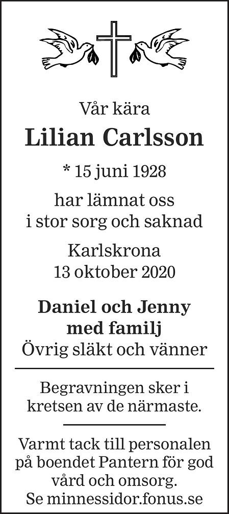 Lilian Karlsson Death notice