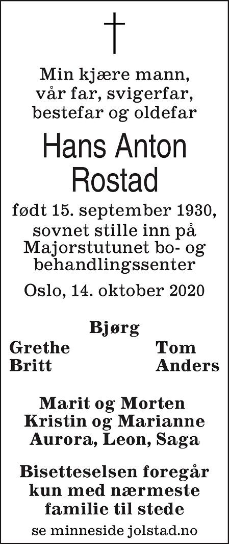 Hans Anton Rostad Dødsannonse