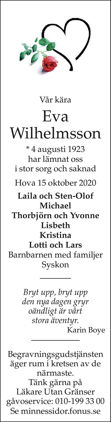 Eva Wilhelmsson Death notice