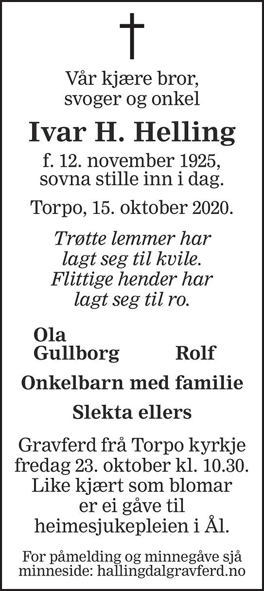Ivar H. Helling Dødsannonse