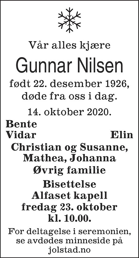 Gunnar Nilsen Dødsannonse
