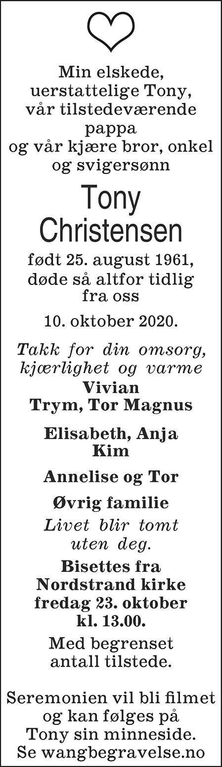 Tony Christensen Dødsannonse