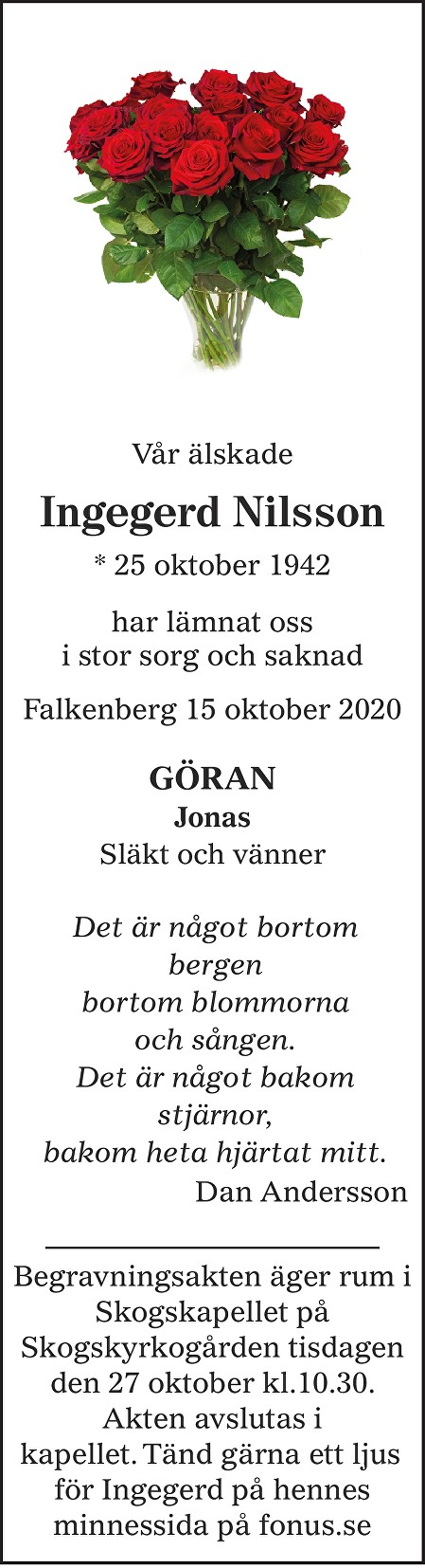 Ingegerd Nilsson Death notice