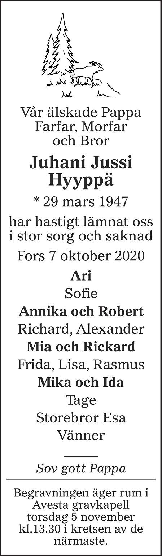 Juhani Hyyppä Death notice