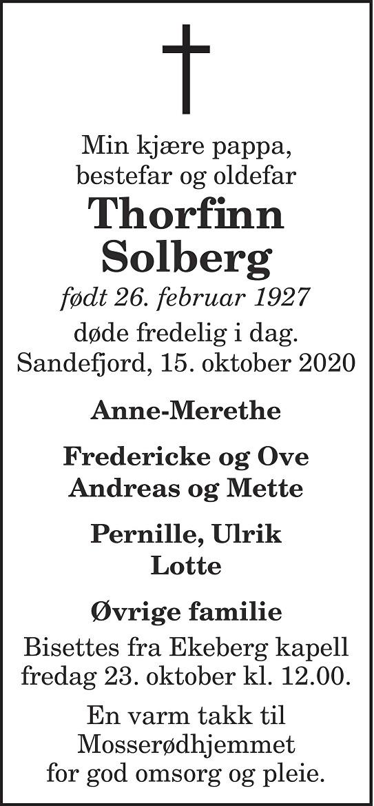 Thorfinn Solberg Dødsannonse