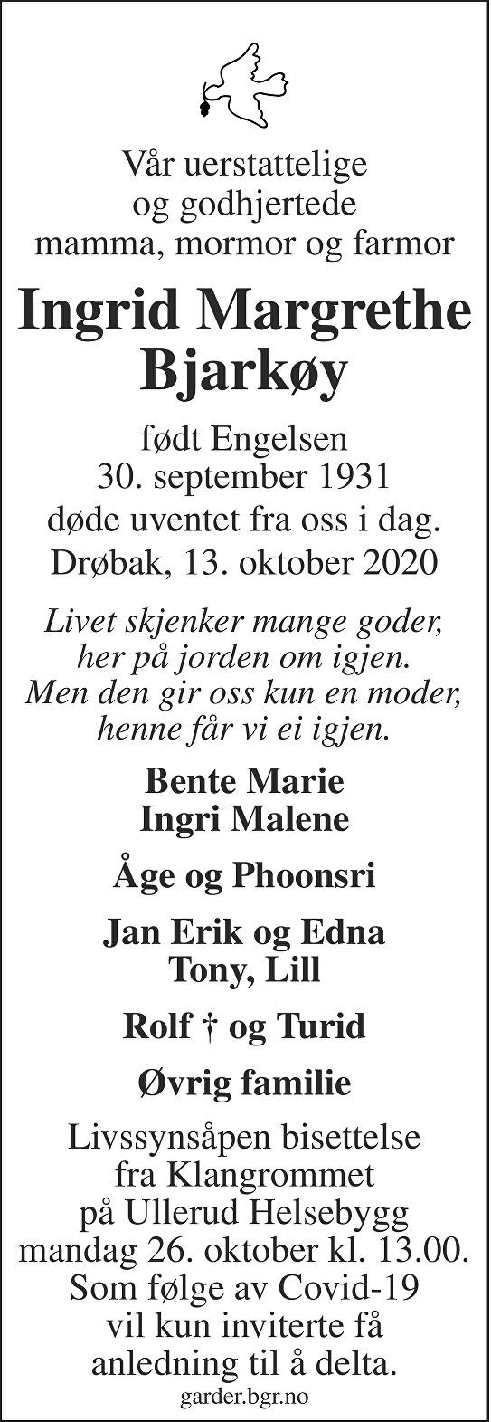 Ingrid Margrethe Bjarkøy Dødsannonse