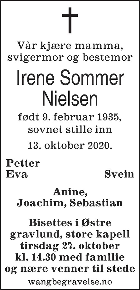 Irene Ingeborg Nielsen Dødsannonse