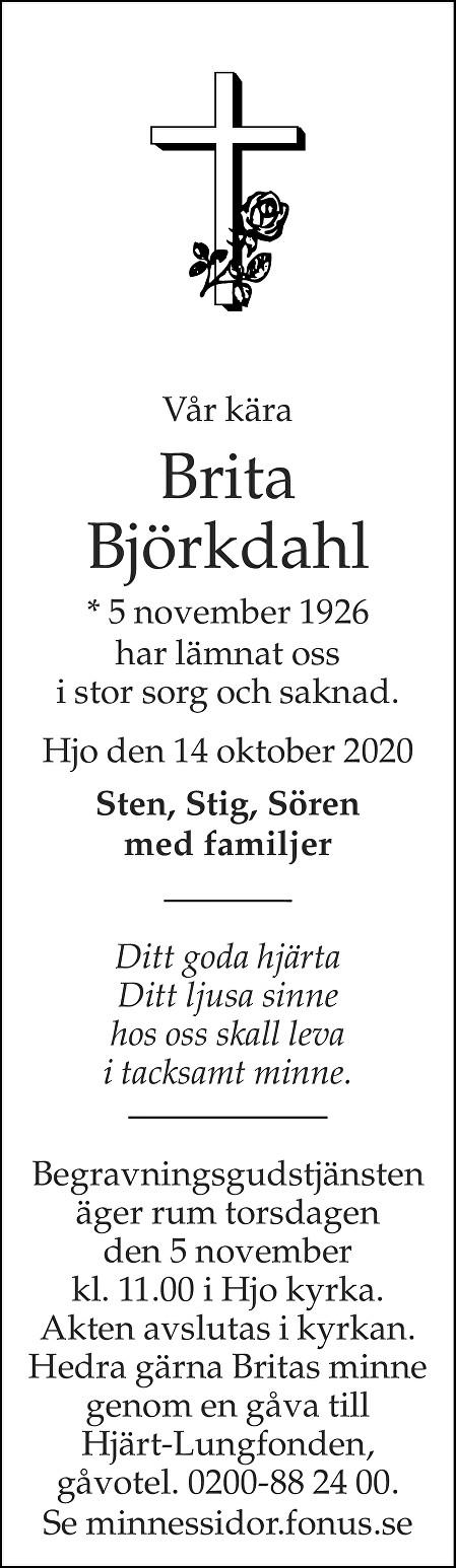 Brita Björkdahl Death notice