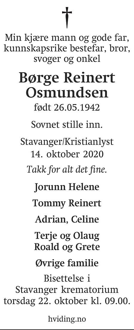 Børge Reinert Osmundsen Dødsannonse