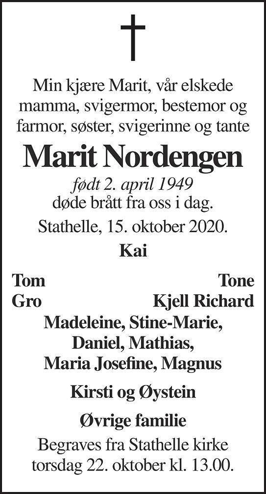 Marit Nordengen Dødsannonse