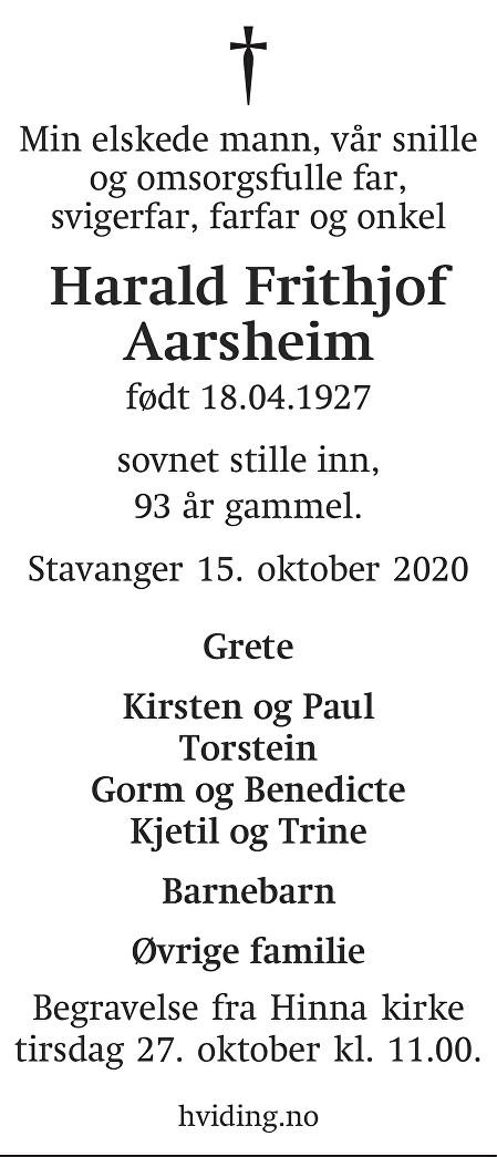 Harald Frithjof Aarsheim Dødsannonse