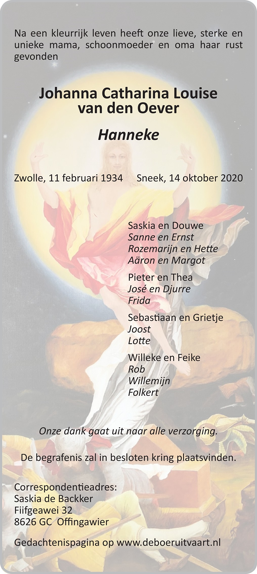 Hanneke van den Oever Death notice