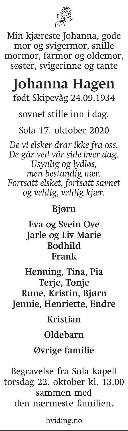 Johanna Hagen Dødsannonse