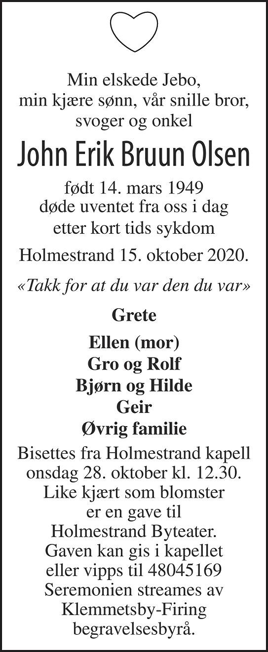 John Erik Bruun Olsen Dødsannonse