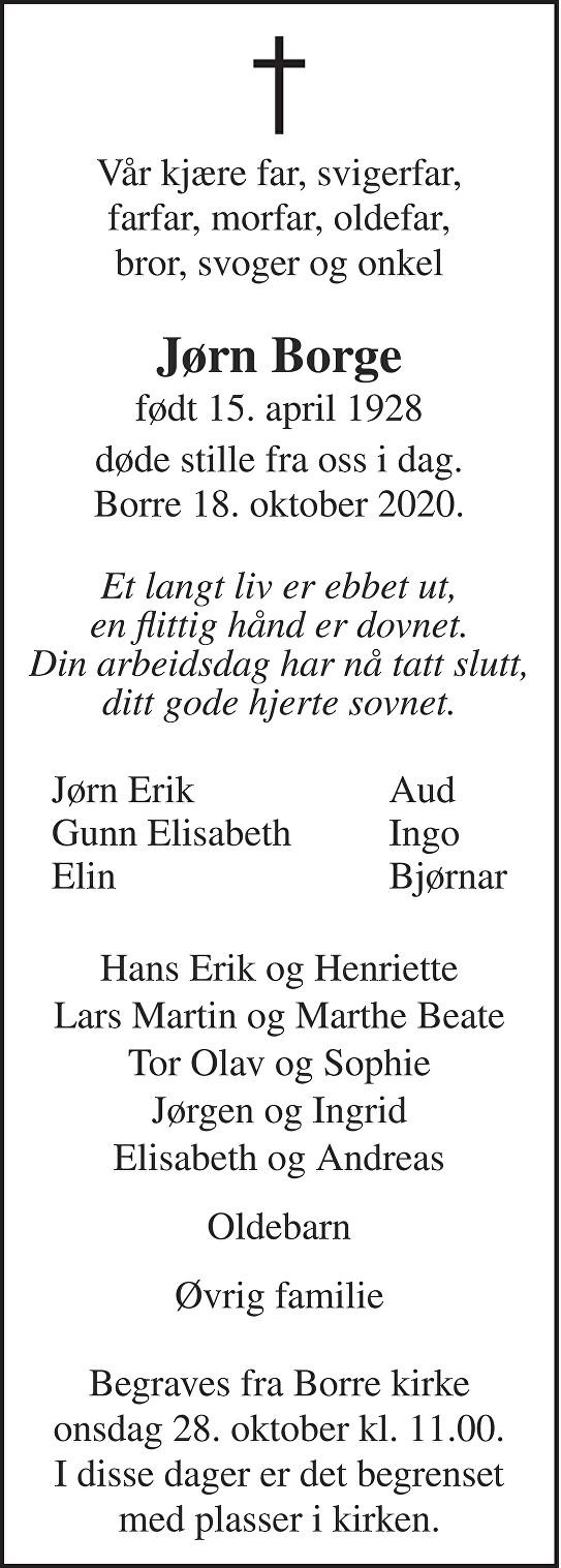 Jørn Conrad Borge Dødsannonse