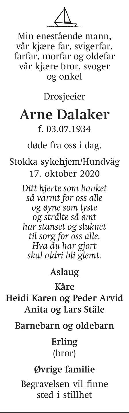 Arne Dalaker Dødsannonse