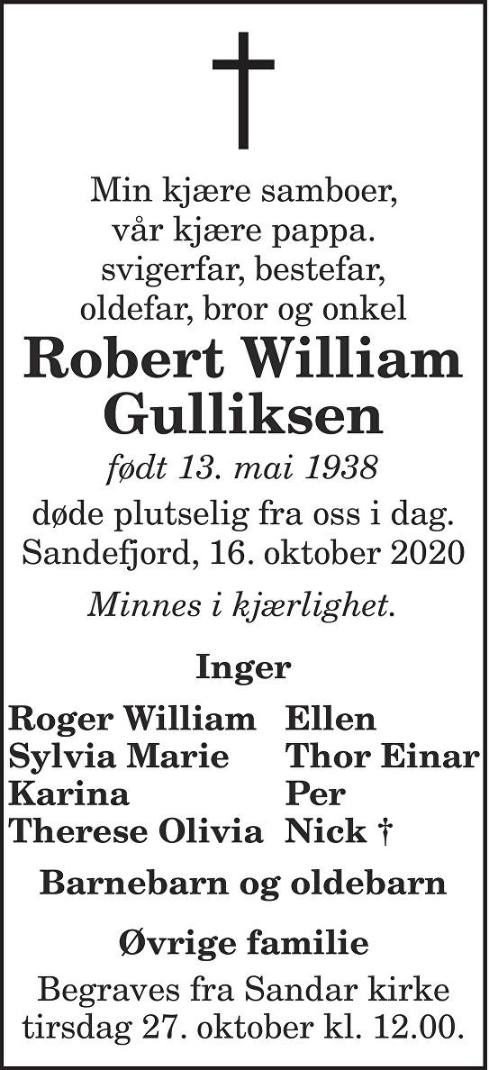 Robert William Gulliksen Dødsannonse
