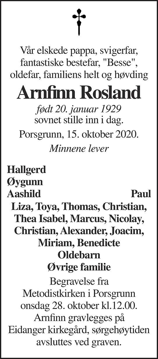 Arnfinn Rosland Dødsannonse