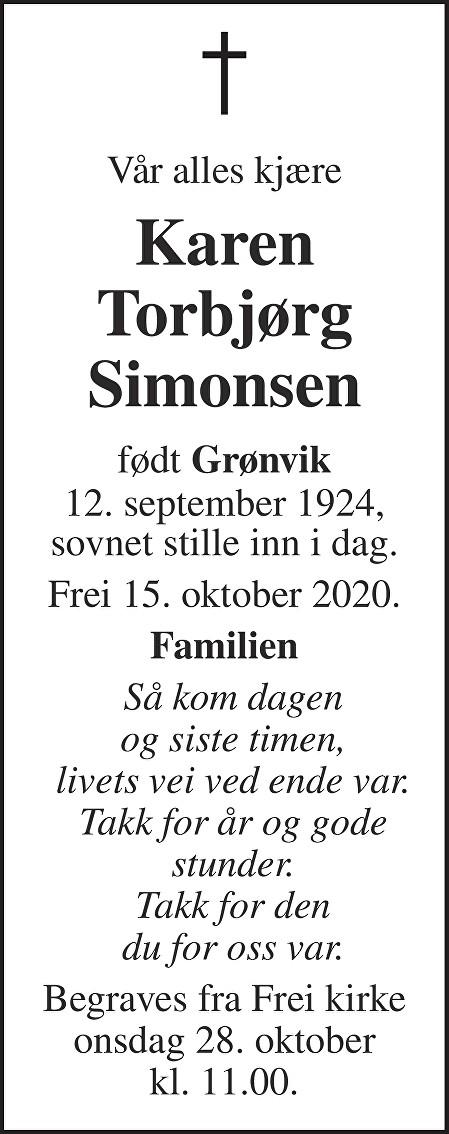 Karen Torbjørg Simonsen Dødsannonse