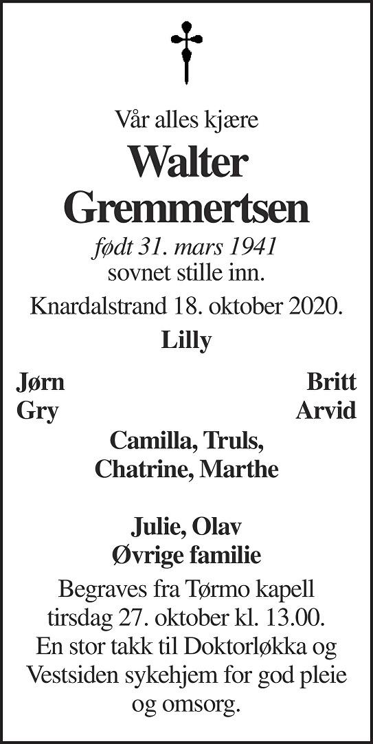 Walter Gremmertsen Dødsannonse