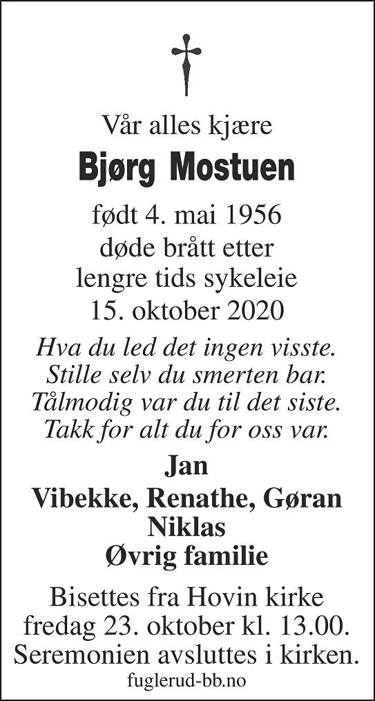 Bjørg Mostuen Dødsannonse