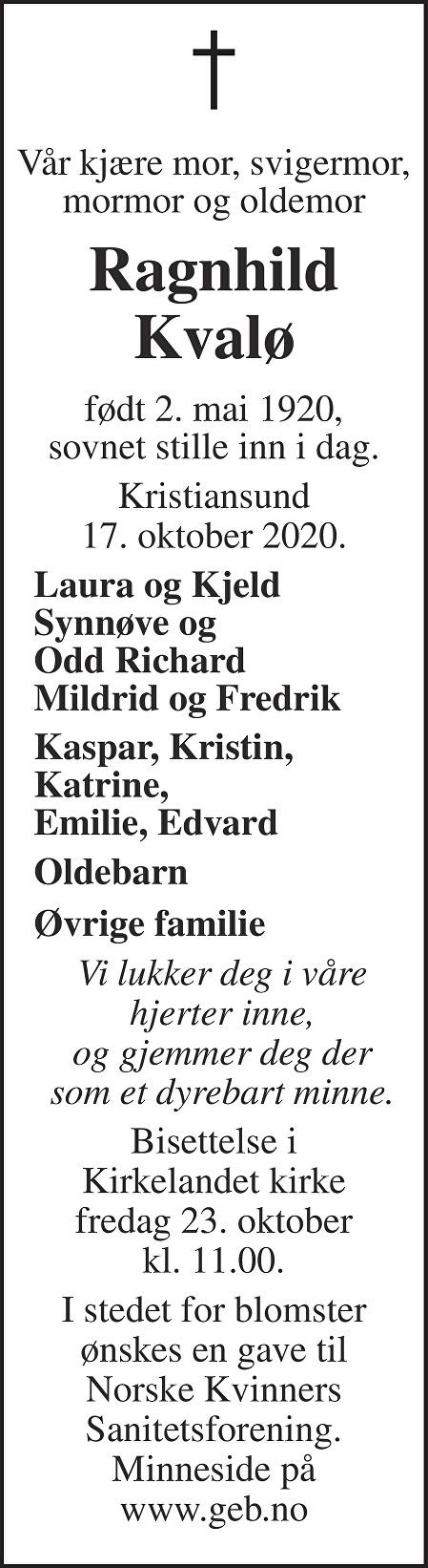 Ragnhild Kvalø Dødsannonse