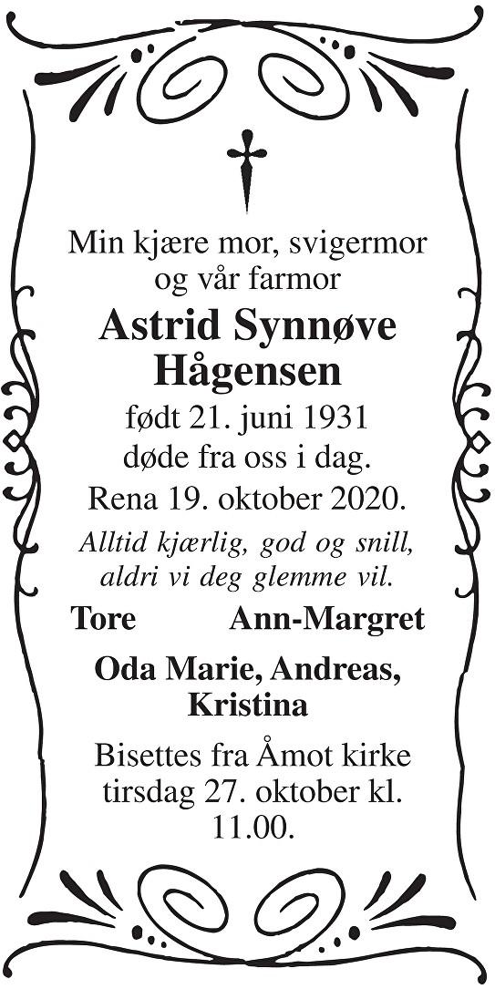 Astrid Synnøve Hågensen Dødsannonse
