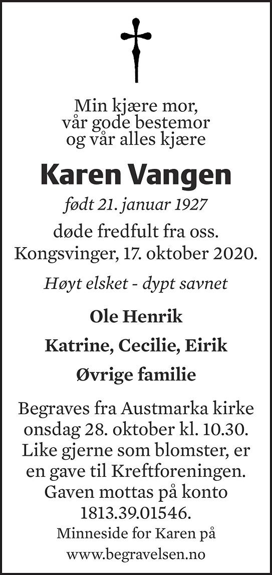 Karen Vangen Dødsannonse