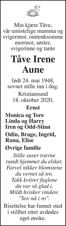 Tåve Irene Aune Dødsannonse