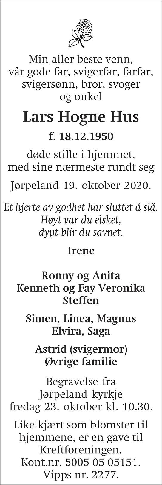 Lars Hogne Hus Dødsannonse