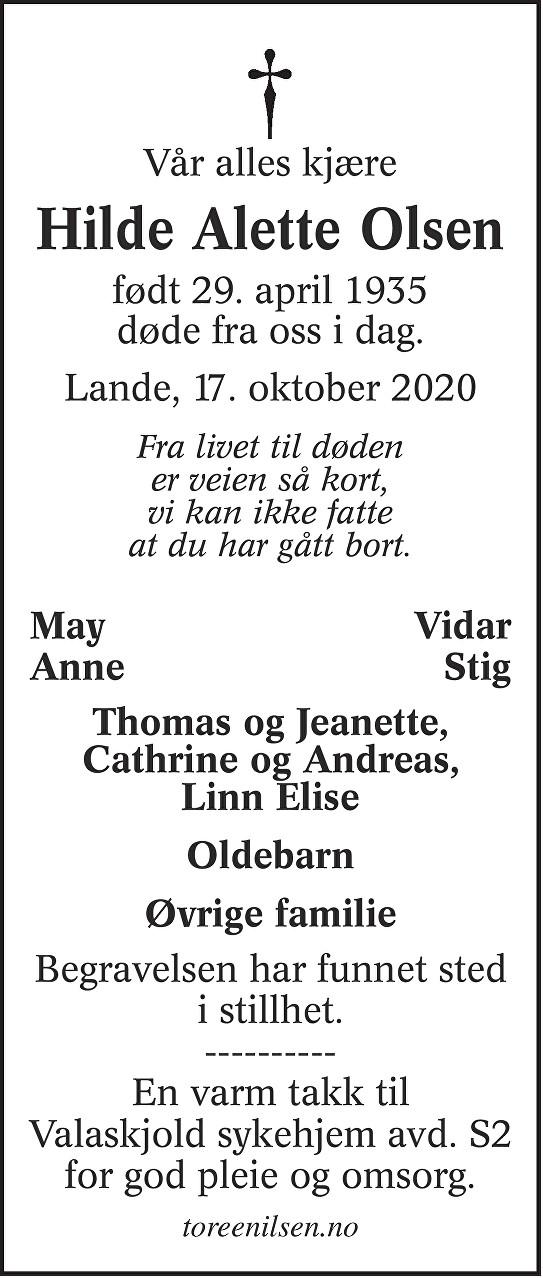 Hilde Alette Olsen Dødsannonse