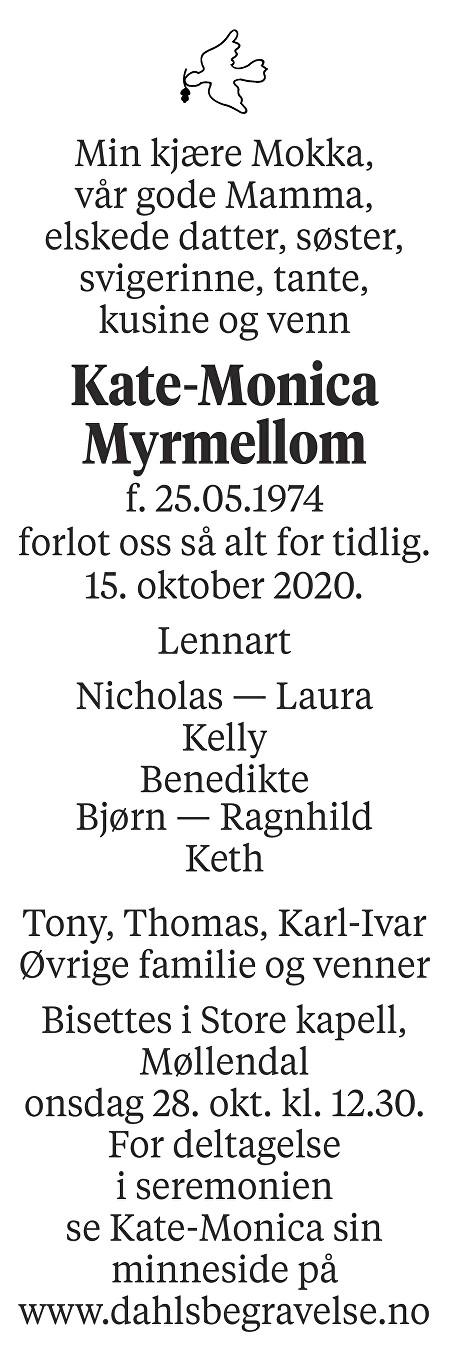 Kate-Monica Myrmellom Dødsannonse