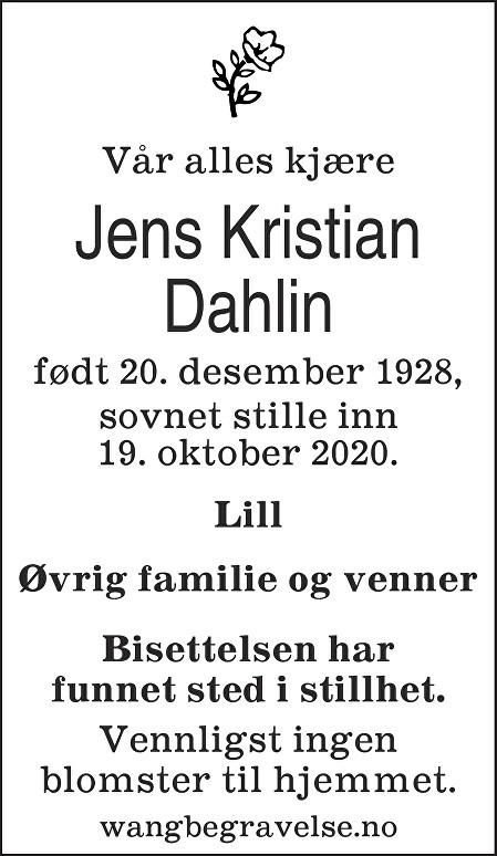 Jens Kristian Dahlin Dødsannonse