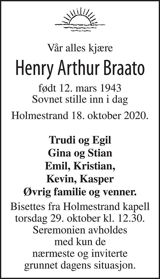Henry Arthur Braato Dødsannonse