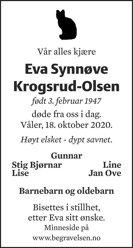 Eva Synnøve Krogsrud-Olsen Dødsannonse