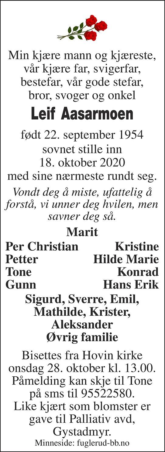 Leif Aasarmoen Dødsannonse