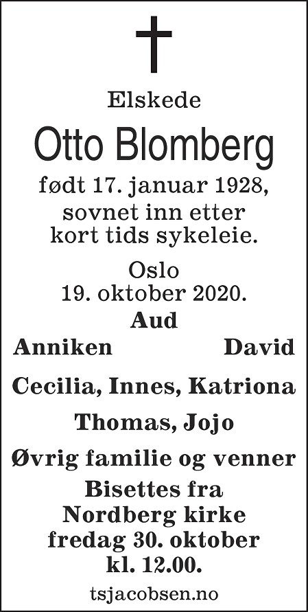 Otto Bertrand Blomberg Dødsannonse