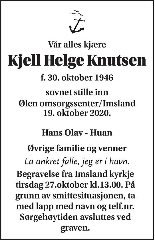 Kjell Helge Knutsen Dødsannonse