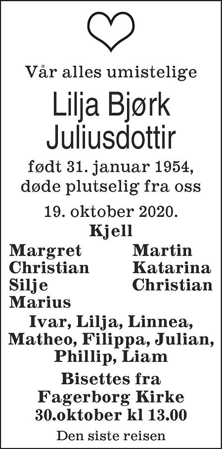 Lilja Bjørk Juliusdottir Dødsannonse
