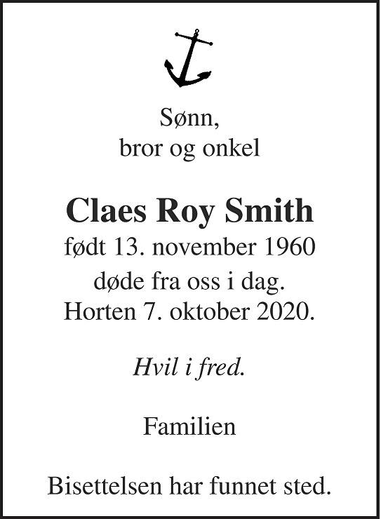Claes Roy Smith Dødsannonse