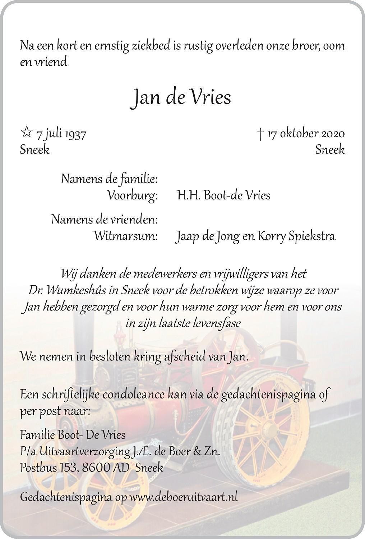 Jan de Vries Death notice