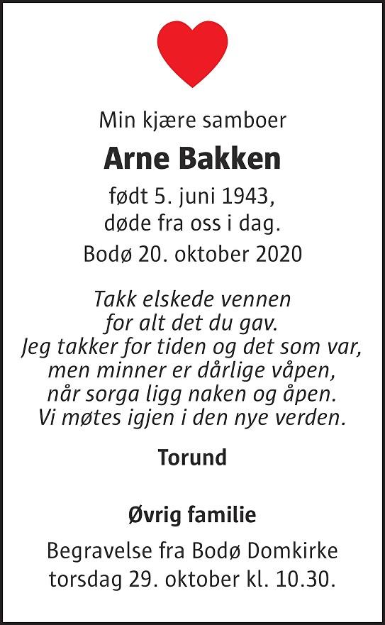 Arne  Bakken Dødsannonse